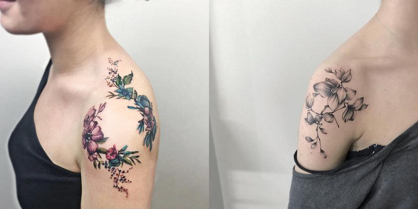 Tatuagem no ombro flores coloridas